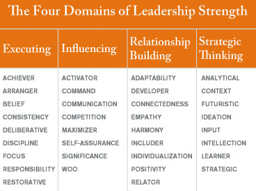 Graphic showing the four domains of leadership strength